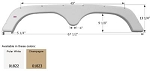 "Icon Tandem Fender Skirt FS1822 ABS Polar White Plastic 67 1/2"" x 5 1/4"" x 9 1/4"""