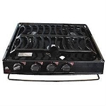 Dometic 3 Burner Cooktop Black - Piezo Ignition