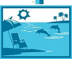 9' x 12' Patio Mat Beach and Dolphin Design, 53000