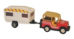 Die Cast Metal Jeep and Trailer Toy