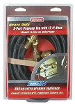 Propane Supply Splitter Brass Tee W/3 Ports & 12' Hose, 59103