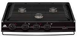 Dometic 3 Burner Cooktop Black - Piezo Ignition with Removable Grate