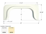 Icon  ABS Plastic Fender Skirt Colonial White FS340  43