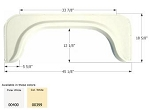 Icon  ABS Plastic Fender Skirt Colonial White FS350  45 1/8