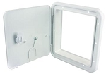 JR Products Access Door with Thumb Lock - Polar White 8 1/2