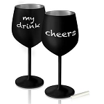 Stainless Steel Wine Glass Matte Black, 10335