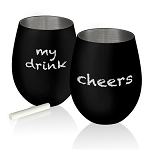 Stainless Steel Stemless Wine Glass Matte Black, 10336