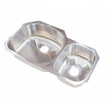 Lippert Components Double Bowl Offset Stainless Steel Sink