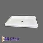 Specialty Recreation Shower Pan - ABS Plastic - White - Center Drain - 24