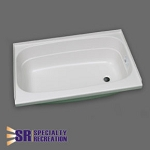 Specialty Recreation Shower Tub - ABS Plastic - White - Right Hand Drain - 24