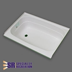 Specialty Recreation Shower Tub - ABS Plastic - White - Left Hand Drain - 24