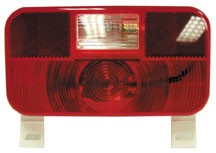 Red Replacement Lens Tail Light with Back-up and License Plate Lens, V25924-25